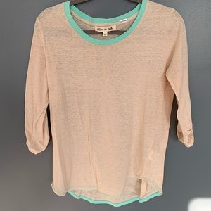 Olive & Oak Long Sleeve Top Cream & Teal Size S